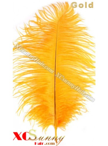 Wholesale - 6 ~ 14 Inch Gold African Ostrich Feather Plume Centerpieces 50 Pcs/Lot [OFP003]