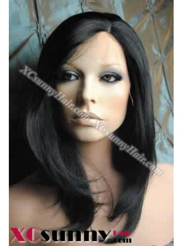 10 inch Silky Straight #1 Lace Front Wigs 100% Indian Remy Human Hair [LFH111]