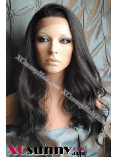 18 Inch Body Wave #1B Glueless Lace Front Wigs 100% Indian Remy Human Hair [GLH084]