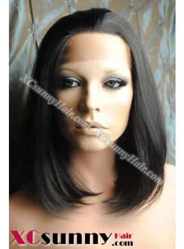 10 Inch Silky Straight #1B Glueless Lace Front Wigs 100% Indian Remy Human Hair [GLH002]