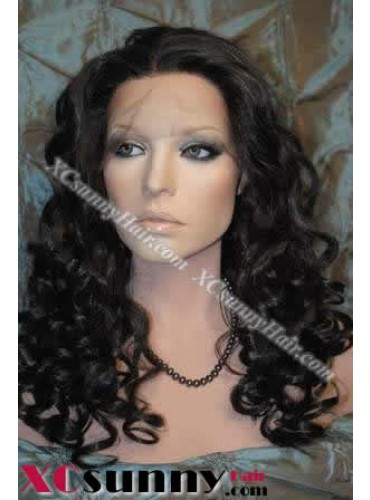 20 inch Curly Wave #1B Lace Front Wigs 100% Indian Remy Human Hair [LFH157]