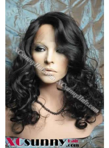 18 inch Curly Wave #1B Lace Front Wigs 100% Indian Remy Human Hair [LFH156]