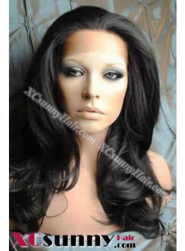 18 Inch Body Wave #1B Glueless Lace Front Wigs 100% Indian Remy Human Hair [GLH082]