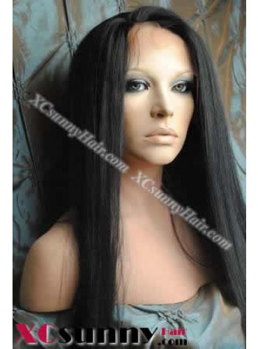 20 inch Yaki Straight #1 Lace Front Wigs 100% Indian Remy Human Hair [LFH126]