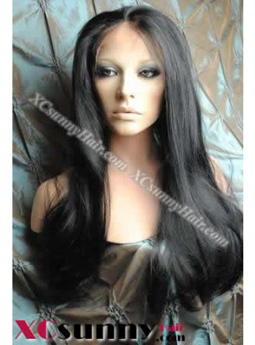 20 Inch Silky Straight #1 Glueless Lace Front Wigs 100% Indian Remy Human Hair [GLH107]