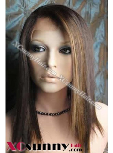 16 Inch Silky Straight #4/27 Glueless Lace Front Wigs 100% Indian Remy Human Hair [GLH047]