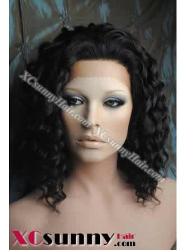 12 inch Deep Wave #1B Lace Front Wigs 100% Indian Remy Human Hair [LFH150]