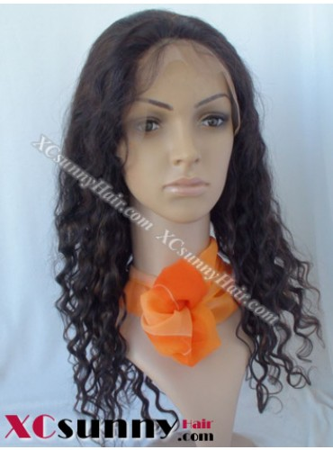 16 inch Deep Wave #1B Lace Front Wigs 100% Indian Remy Human Hair [LFH220]