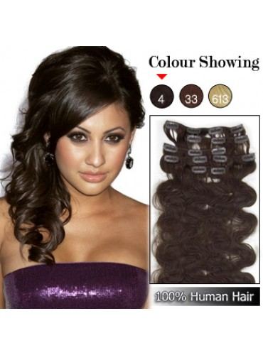 Wholesale-15 Inches 9pcs 90g Clips-on 100% Brazilian Human Hair Extensions Wavy #4_Medium Brown (18 kinds of colors can be choose) [CHE013]