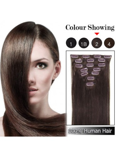 Wholesale-18 Inches 9pcs 100g Clips-on 100% Brazilian Human Hair Extensions #2_Dark Brown (18 kinds of colors can be choose) [CHE018]
