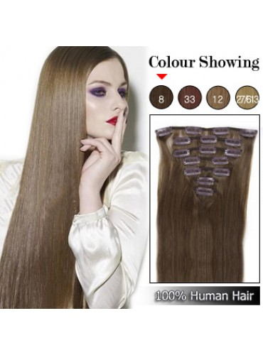 Wholesale-18 Inches 9pcs 100g Clips-on 100% Brazilian Human Hair Extensions #8_Ash Brown (18 kinds of colors can be choose) [CHE019]