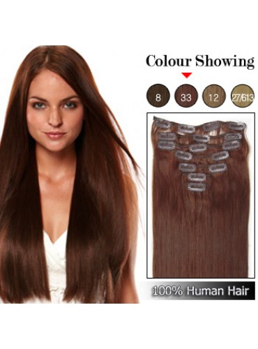 Wholesale-18 Inches 9pcs 100g Clips-on 100% Brazilian Human Hair Extensions #33_Dark Auburn (18 kinds of colors can be choose) [CHE020]