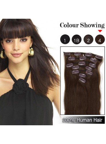 Wholesale-20 Inches 9pcs 105g Clips-on 100% Brazilian Human Hair Extensions #4_Medium Brown (18 kinds of colors can be choose) [CHE025]