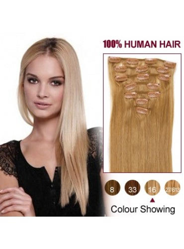Wholesale-20 Inches 9pcs 105g Clips-on 100% Brazilian Human Hair Extensions #16_Golden Blonde (18 kinds of colors can be choose) [CHE026]