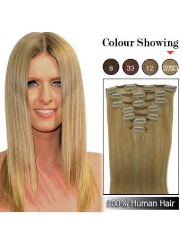Wholesale-22 Inches 9pcs 110g Clips-on 100% Brazilian Human Hair Extensions #27/613 (18 kinds of colors can be choose) [CHE036]