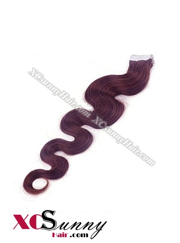 16 Inch - 26 Inch Body Wave  #99j 100% Indian Remy Human Hair Skin Weft Tape In Hair Extensions 40pcs 100g [SWTW019]