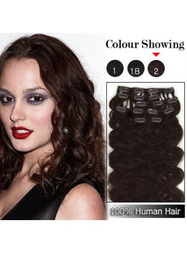 Wholesale-22 Inches 9pcs 110g Clips-on 100% Brazilian Human Hair Extensions Wavy #2_Dark Brown (18 kinds of colors can be choose) [CHE037]
