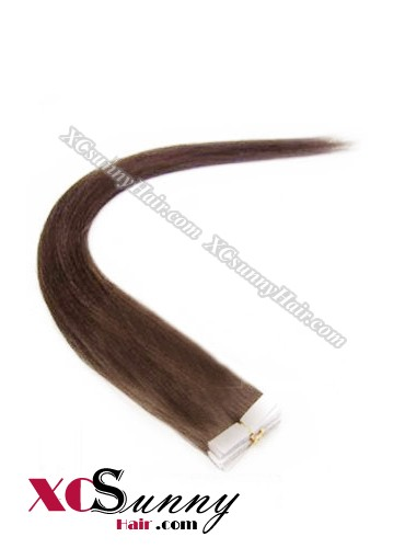 16 Inch - 26 Inch Silky Straight  #4 Medium Brown 100% Indian Remy Human Hair Skin Weft Tape In Hair Extensions 20pcs 50g [SWT5005]