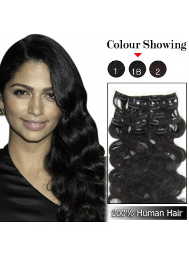 Wholesale-22 Inches 9pcs 110g Clips-on 100% Brazilian Human Hair Extensions Wavy #1B_Natural Black (18 kinds of colors can be choose) [CHE038]