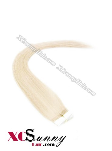 16 Inch - 26 Inch Silky Straight  #613 100% Indian Remy Human Hair Skin Weft Tape In Hair Extensions 20pcs 50g [SWT5021]