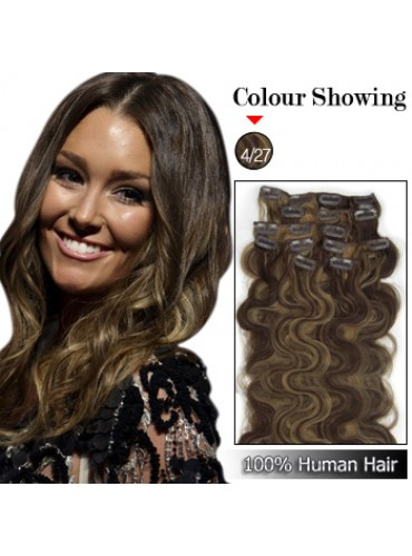 Wholesale-22 Inches 9pcs 110g Clips-on 100% Brazilian Human Hair Extensions Wavy #4/27 (18 kinds of colors can be choose) [CHE040]