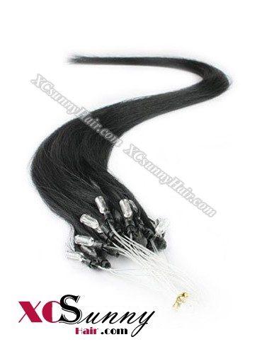 14 Inch - 26 Inch Silk Straight #1 Jet Black Micro Loop Ring Human Hair Extensions 0.8g*50s  [MLRS85001]