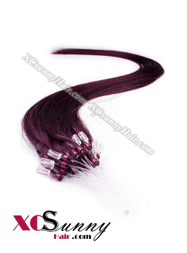 14 Inch - 26 Inch Silk Straight #99j Micro Loop Ring Human Hair Extensions 0.5g*100s  [MLRS51019]