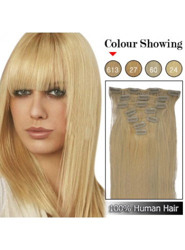 Wholesale-24 Inches 9pcs 120g Clips-on 100% Brazilian Human Hair Extensions #613_Lightest Blonde (18 kinds of colors can be choose) [CHE044]