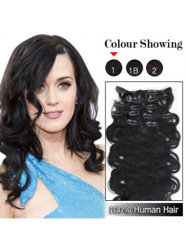 Wholesale-24 Inches 9pcs 120g Clips-on 100% Brazilian Human Hair Extensions Wavy #1_Jet Black (18 kinds of colors can be choose) [CHE045]