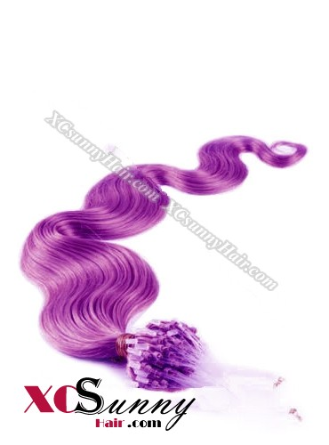 14 Inch - 26 Inch Body Wave #Purple Micro Loop Ring Human Hair Extensions 0.5g*100s  [MLRB51025]