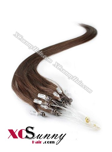 14 Inch - 26 Inch Silk Straight #4 Medium Brown Micro Loop Ring Human Hair Extensions 0.5g*50s  [MLRS55005]