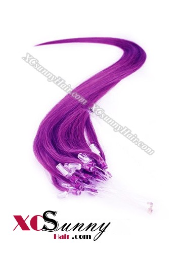 14 Inch - 26 Inch Silk Straight #Purple Micro Loop Ring Human Hair Extensions 0.5g*50s  [MLRS55024]