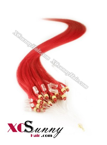 14 Inch - 26 Inch Silk Straight #Red Micro Loop Ring Human Hair Extensions 0.5g*50s  [MLRS55025]
