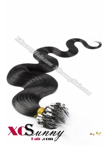 14 Inch - 26 Inch Body Wave #1 Jet Black Micro Loop Ring Human Hair Extensions 0.5g*50s  [MLRB55001]