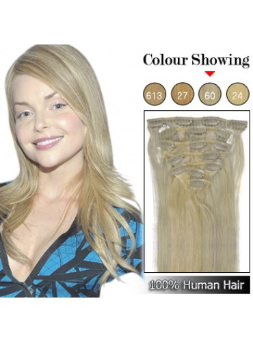 Wholesale-20 Inches 9pcs 105g Clips-on 100% Brazilian Human Hair Extensions #60_White Blonde (18 kinds of colors can be choose) [CHE028]
