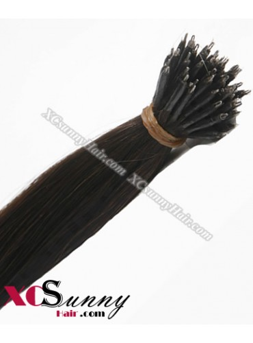 Wholesale-18 Inch - 22 Inch  #4 Medium Dark Brown Straight Nano Ring Hair Extensions 100% Indian Remy Human Hair Extension 100g/pack, 1g/s [NRE004]