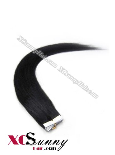 16 Inch - 26 Inch Silky Straight  #1 Jet Black 100% Indian Remy Human Hair Skin Weft Tape In Hair Extensions 20pcs 50g [SWT5001]