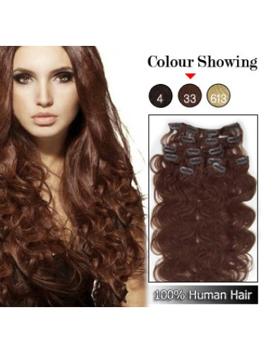 Wholesale-20 Inches 9pcs 105g Clips-on 100% Brazilian Human Hair Extensions Wavy #33_Dark Auburn (18 kinds of colors can be choose) [CHE031]