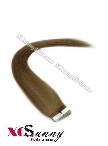 16 Inch - 26 Inch Silky Straight  #10 100% Indian Remy Human Hair Skin Weft Tape In Hair Extensions 40pcs 100g [SWT008]