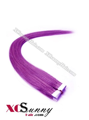16 Inch - 26 Inch Silky Straight  #Purple 100% Indian Remy Human Hair Skin Weft Tape In Hair Extensions 40pcs 100g [SWT025]