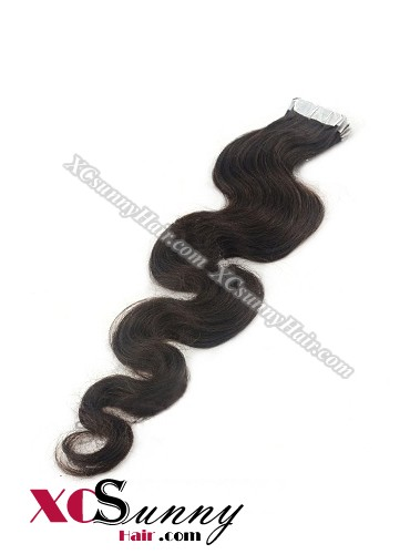 16 Inch - 26 Inch Body Wave  #2 Darkest Brown 100% Indian Remy Human Hair Skin Weft Tape In Hair Extensions 40pcs 100g [SWTW003]