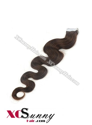 16 Inch - 26 Inch Body Wave  #3 100% Indian Remy Human Hair Skin Weft Tape In Hair Extensions 40pcs 100g [SWTW004]
