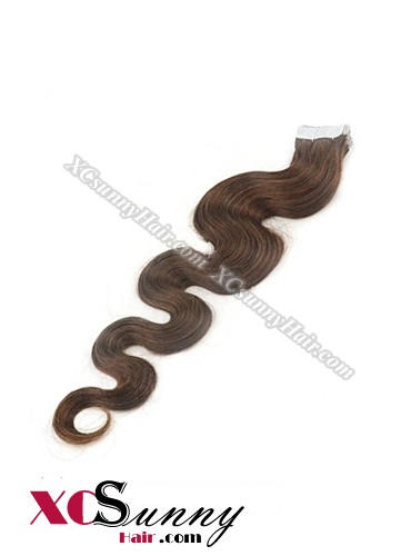 16 Inch - 26 Inch Body Wave  #4 Medium Brown 100% Indian Remy Human Hair Skin Weft Tape In Hair Extensions 40pcs 100g [SWTW005]