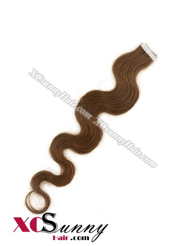 16 Inch - 26 Inch Body Wave  #6 100% Indian Remy Human Hair Skin Weft Tape In Hair Extensions 40pcs 100g [SWTW006]