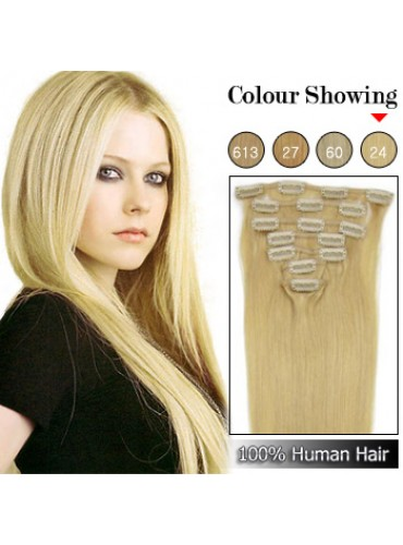 Wholesale-22 Inches 9pcs 110g Clips-on 100% Brazilian Human Hair Extensions #24_Light Blonde (18 kinds of colors can be choose) [CHE035]