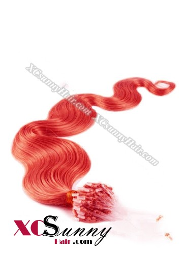 14 Inch - 26 Inch Body Wave #Red Micro Loop Ring Human Hair Extensions 0.5g*50s  [MLRB55026]