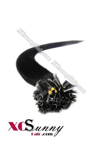 16 Inch - 26 Inch Silk Straight #1 Jet Black Nail Tip Human Hair Extensions 0.5g*50s [NUTS55001]