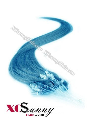 14 Inch - 26 Inch Silk Straight #Blue Micro Loop Ring Human Hair Extensions 0.8g*50s  [MLRS85022]