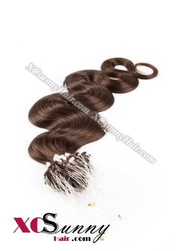 14 Inch - 26 Inch Body Wave #4 Medium Brown Micro Loop Ring Human Hair Extensions 0.5g*50s  [MLRB55005]