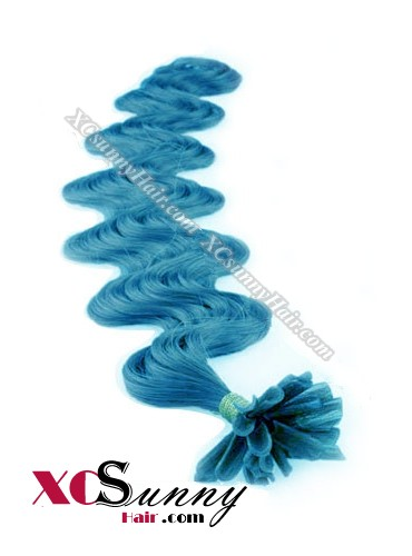 16 Inch - 26 Inch Body Wave #Blue Nail Tip Human Hair Extensions 0.5g*100s [NUTB51022]